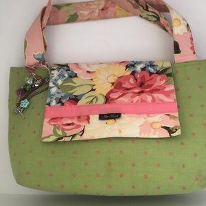 Jilly Bean green polka dote & flowered tote (A)